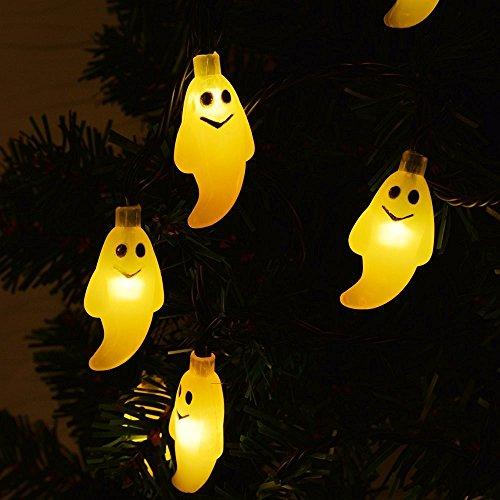 te LED Schnurlicht 30 LEDs Kürbis Geist Licht für Außen Weihnachten Halloween Party Park Fest Deko Warmweiß ()