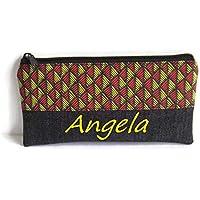 Trousse scolaire personnalisée géométrique rouge jaune et noir, trousse maquillage prénom, trousse femme, Cadeaux personnalisés