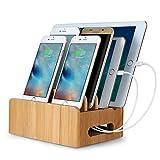 Upow Multifonction Support de Charge en Bambou Station de Charge Organiser Câbles pour iPhone, iPad, Smartphones, Tablettes