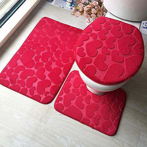 WWDDVH 3D Geprägte Memory Sponge 3 Stücke Badematte Set Absorbent Badezimmer Teppiche Set Anti-Slip Bad Fußmatten Wc Teppiche-Liebe