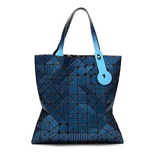 FZHLY Versione Coreana Del Semplice Pacchetto Selvaggio Laser Geometrica Ling Griglia Pieghevole Handbag,Red LakeBlue