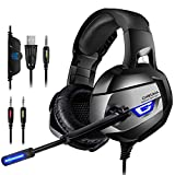 K5 PC,PS4 Gaming Headset- Spielkopfhörer 4D Stereo 1-2 Transfer Kabel Mikrofon Speaker für Switch, Laptop, Tablets, Handy, xbox1 blaue LED