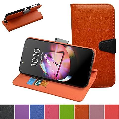 Alcatel Idol 4 4+ Hülle,Mama Mouth Brieftasche Schutzhülle Case Hülle mit Kartenfächer und Standfunktion für Alcatel One Touch Idol 4 4+ 6055 5.2 Zoll 2016 Smartphone,Orange