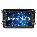 Ohok 8 Zoll Bildschirm 2 Din Autoradio Android 8.0.0 Oreo Octa Core 4G+32G Radio mit Navi Moniceiver DVD GPS Navigation Unterstützt Bluetooth WLAN DAB+ OBD2 für VW Volkswagen SEAT Skoda Golf Passat