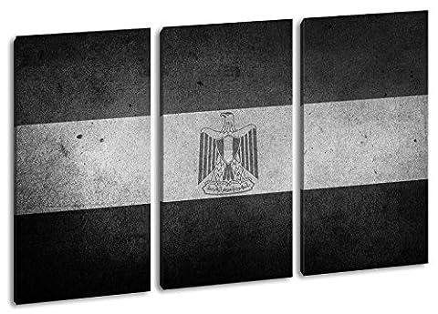 Ägyptische Flagge Format: 3-teilig 120x80 Effekt: Schwarz/Weiß als Leinwandbild, Motiv fertig gerahmt auf Echtholzrahmen, Hochwertiger Digitaldruck mit Rahmen, Kein Poster oder Plakat