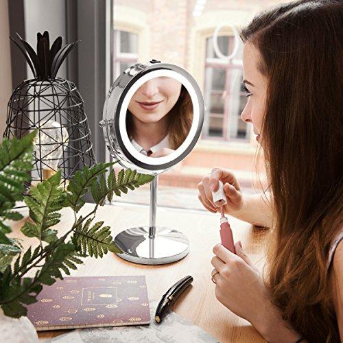 Navaris Kosmetikspiegel mit LED Beleuchtung – Spiegel mit normaler und 5-facher Vergrößerung – Schminkspiegel beleuchtet 360° drehbar - 2