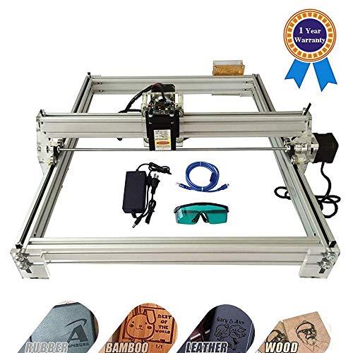 HUKOER 40X50 CM Kits de grabador láser CNC de bricolaje Máquina de grabado láser de escritorio con USB de 12 V, impresora láser de potencia ajustable Talla y corte Carcasa de para teléfono(2500MW)