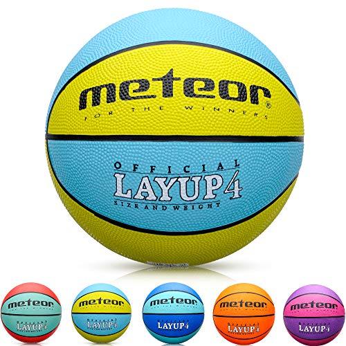 meteor® Kinder Basketball LAYUP Größe #4 Jugend Basketball ideal auf die Kinder-hände 5-10 Jahre idealer mini Basketball für Ausbildung weicher outdoor mit griffiger Oberfläche (Größe #4, Blau & Gelb)