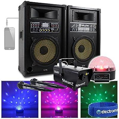 "2x Active 10"" Karaoke Speakers Microphones System LED Lighting Fog Machine 800W"