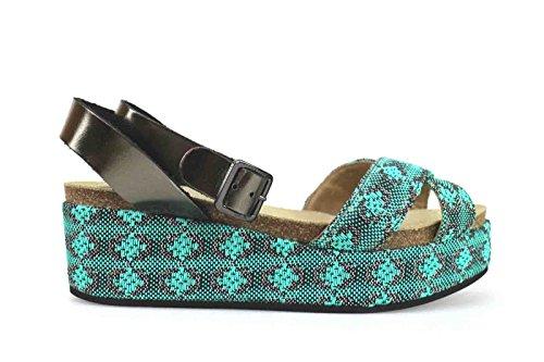 scarpe donna LOGAN sandali zeppe verde tessuto pelle AK642 (39 EU)