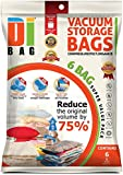 DIBAG ® 6 VACUUM COMPRESSED STORAGE SPACE SAVER BAGS 80 X 60 CM For Clothing, Duvets, Bedding, Pillows, Curtains & More. (6)