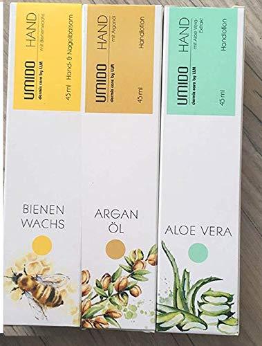 UMIDO Handlotion Pflegeset - Aloe Vera, Arganöl und Olive. Schenkt der Haut samtweiche Pflege und bereitet ein zartes, geschmeidiges Hautgefühl. Zieht schnell ein und fettet nicht.