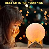 Zoweetek Moon Lamp 3D Printing with Dock, LED Night Light USB Rechargeable, Touch Control and 3 Adjustable Colors for kids, Gifts and Home Decoration(15cm)