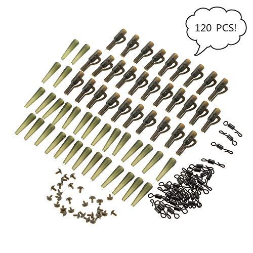 Lixada Pêche Set Lead Clips Tail, Un Total de 120PCS, Tubes en Caoutchouc de Sécurité avec Quick Change Pins, Swivels Pêche à la Carpe Terminal Tackle Outil Accessoires