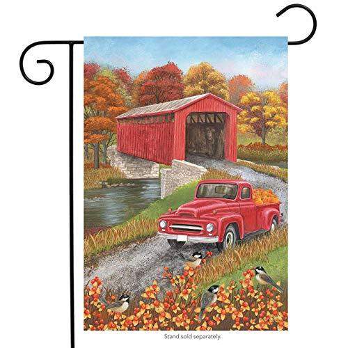 Joe Kiya Fall Pickup Truck Garden Holiday Double Sided Flag Außenwanddekoration (Empfohlene Brise)