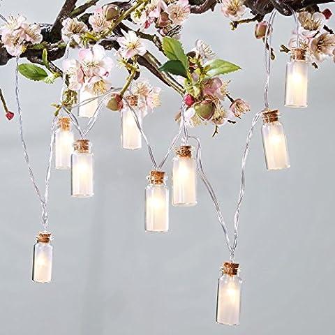 Lichterkette Glasflaschen - Solar-Lichterkette für den Garten - 10 LEDs - Weiß - Länge ca. 205 cm