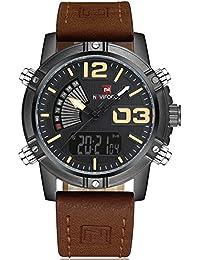 Naviforce reloj de los hombres de la banda de cuero resistente al agua LED multifuncional doble pantalla Digital de cuarzo reloj de pulsera