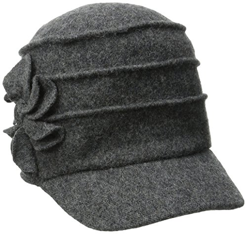 san-diego-hat-company-womens-wool-cadet-with-right-side-flower-charcoal-one-size