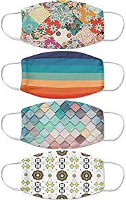 Zotikfit Poly Cotton Multicolor Retro Geometric Printed Reusable And Washable Face Mask - Pack of 4 (6-7-9-14)