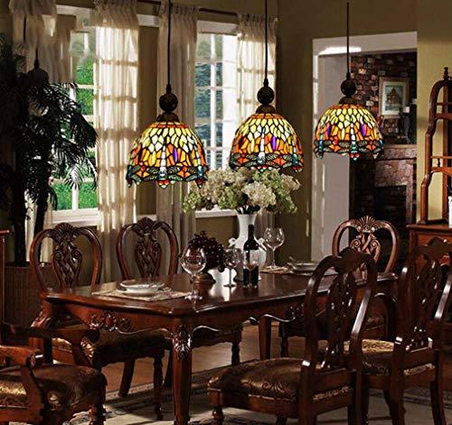 Tiffany-Stil Pendelleuchte Libelle, Victoria Farbglas Lampenschirm 3-Kopf Kronleuchter Lampe für Restaurant Cafe Kunst Decke hängende Beleuchtung, E27 / E26
