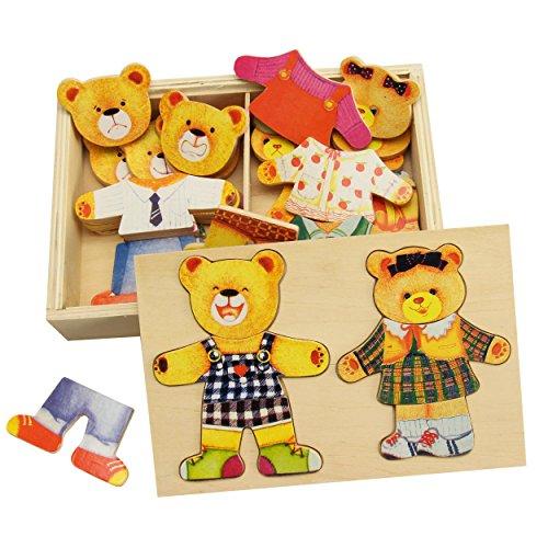 Preisvergleich Produktbild Bärenfamilie, Ankleide-Puzzle Holz  hervorragendes Mimikspiel für die kindliche Entwicklung  Kinderpuzzle mit praktischer Holzbox ca. 21x14 cm  Bären-Holz-Puzzle ab 3 Jahre | trendmarkt24 - 5421