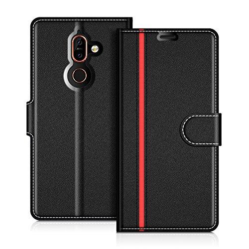 COODIO Nokia 7 Plus Hülle Leder Lederhülle Ledertasche Wallet Handyhülle Tasche Schutzhülle mit Magnetverschluss/Kartenfächer für Nokia 7 Plus, Schwarz/Rot