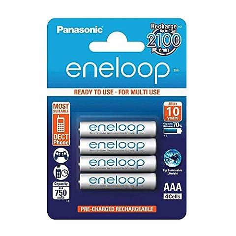 Panasonic BK-4MCCE/4BE eneloop 750mAh Lot de 4 piles Ni-MH AAA/Micro/LR03 prêtes à utiliser