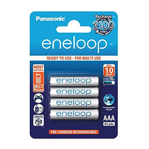 Panasonic eneloop, Ready-to-Use Ni-MH Akku, AAA Micro, 4er Pack, min. 750 mAh, 2100 Ladezyklen, geringe Selbstentladung (Nimh-aaa Panasonic)