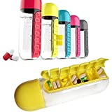CONNECTWIDE® 2 In 1 Weekly Medicine Vitamins 600ML( Get Free 1 Usb Mini Fan ) Candy Color Pill Water Bottle Seven Daily Pill Box Organizer Portable Kit Combine Plastic Water Bottle (Random Color), Creative 600ML Candy Color Pill Water Bottle Seven Dai