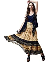 Artka Women's Ethnic Color Blocks Patched Printed Swing Maxi Skirt QA14150C