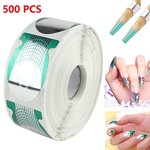 MultiWare 500 Pcs Autocollants Ongles Nail Art Extension Formulaires Guidage Acrylic UV Gel