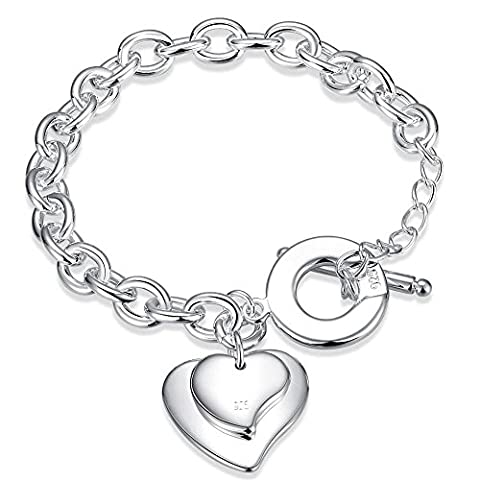 Bodya pour femme Rolo câble Maillon de chaîne C?ur Bracelet à breloques Argenté T O Toggle-clasps 20,3cm - double heart