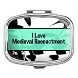 Rectangle Pill Case Trinket Gift Box I Love Heart Sports Hobbies Ma-Oi - Medieval Reenactment
