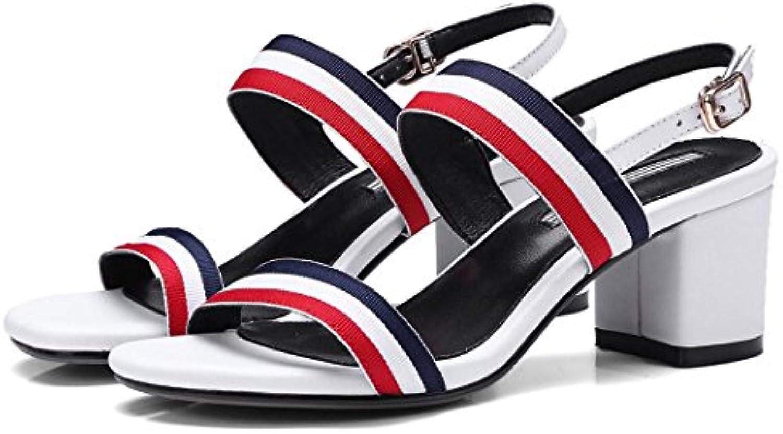 GAOLIXIA Wo Wo Wo  Real Leather Open Toe talons hauts sandales pompes Summer Knit Fashion bride à la cheville Cour...B07DCQJ1PSParent   Doux Et Léger  71ef38