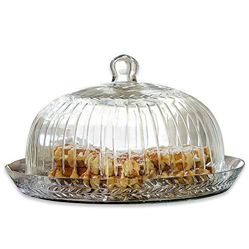 Loberon Glasglocke mit Platte Layla, Glas, H/Ø ca. 21/30 cm, klar