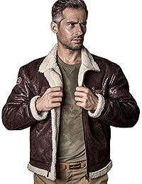Free Soldier Herren Classic Jacke heat-conserving Leder Fell Pilot Jacke