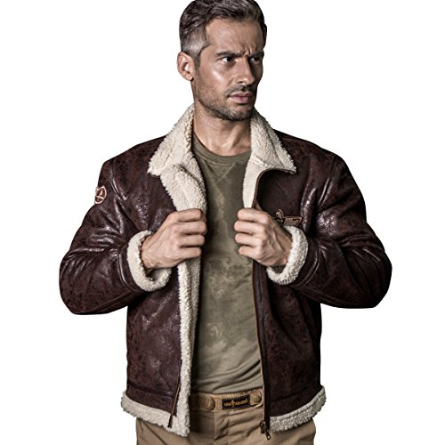 Free Soldier Herren Classic Jacke Fleece Warm Jacket für Herbst Leder Fell Winterjacke Pilot Jacke M braun (Fell-fleece-set)