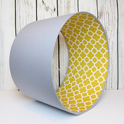 handmade-lampshade-in-a-light-grey-cotton-fabric-with-mustard-quatrefoil-interior-choice-of-colours