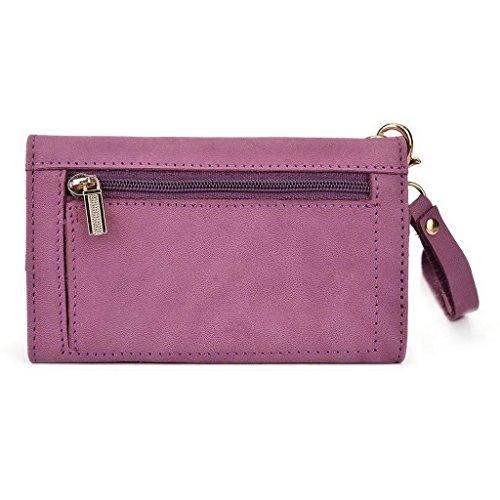 Kroo Pochette Housse Téléphone Portable en cuir véritable pour ZTE Nubia Z7 Gris - Gris Violet - violet