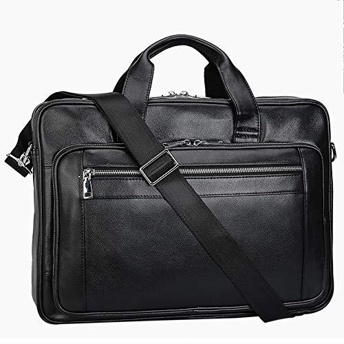 HRUIIOIH Aktentasche für Männer Leder, Casual Fashion Umhängetasche Rucksack 15 Zoll Laptop Slim Business Schulter Vintage Nachricht Taschen,Black (Leder Nachricht Taschen Für Männer)