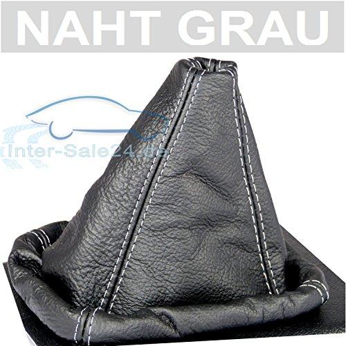 L&P A0025 Soufflet Sac Manchette manchon de commutation 100% cuir véritable veritable noir noire couture fil gris transmission manuelle boîte boite vitesse vitesses changement vitesse