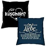 kuscheln & Warum ich Dich liebe : Kissen 2er Set 40 x 40 cm : für Verliebte zum Jahrestag Valentinstag Geburtstag Geschenk für Frauen & Männer