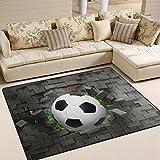 Naanle Fußball Rutschfeste Bereich Teppich für Dinning Wohnzimmer Schlafzimmer Küche, 50x 80cm (7x 2,6m), Kinderzimmer-Teppich, Teppich Yoga-Matte, Multi, 120 x 160 cm(4
