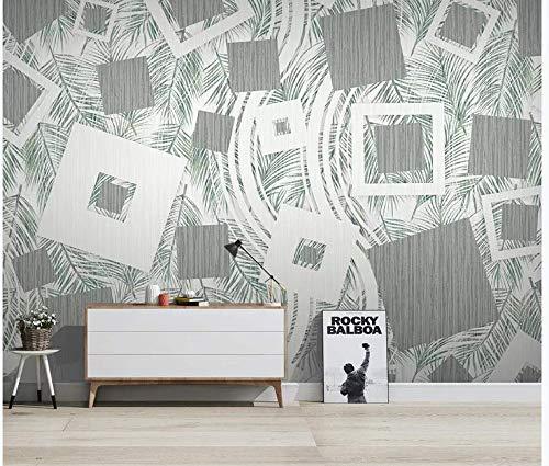 Tapete Nordic Tropical Pflanzen moderne minimalistische geometrische Linien TV Hintergrund Tapeten, 250cm * 175cm -