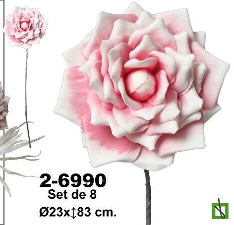 rosas d goma eva Set de 8 flores en foami en color rosa