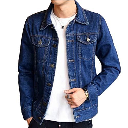 Aooword-men clothes Herren outwear mantel biker moto gewaschene vintage-jeansjacke Small Dunkelblau
