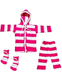 Woolen Knitted Baby Woolen Set Hooded/Pent/Shoes for 0-6 Months New Born Baby boy/Girl Fully Comfortable/Soft/Warm/Strong & Light/Durable/High Quality Woolen Knitted Genuine Woolen (Pink)