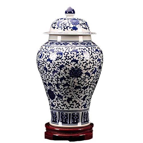 BEITAI Blaue und weiße Porzellan große Vase, Dekoration Ornament für Wohnzimmer Esszimmer Tisch Herzstück Schlafzimmer Büro Hotel Home Dekoration handbemalte hohe Blumenvasen (Color : B)