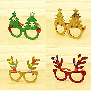 UChic 4PCS Christmas Party Sequin Bright Powder Accessory Decoration Christmas Party Glasses Christmas Tree Glasses For Child Color Randomly
