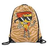 Wnocdmv Cool Pizza Funny Unisex Drawstring Backpack Travel Sports Bag Drawstring Beam Port Backpack.